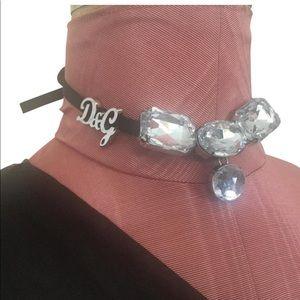 D&G Crystal Embellished Suede Tie Back Choker
